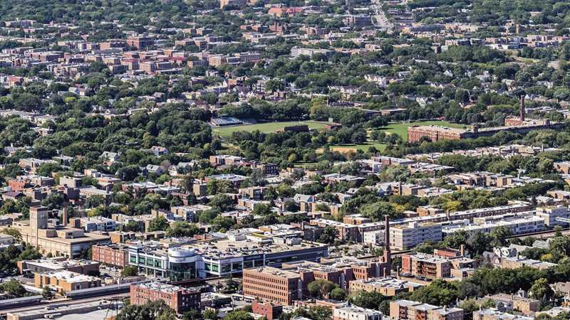 Aerial view, Ravenswood Terrace, Chicago