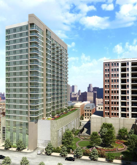 Want a River North 2-bedroom, 2-bath with a stall shower?