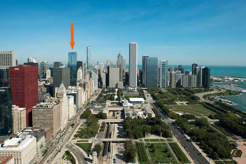 Chicago, Legacy at Millennium Park, aerial view