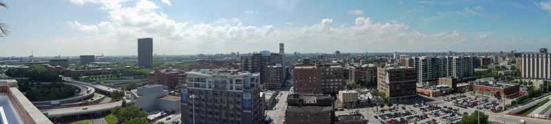 The rooftop views from Haberdasher Square Lofts