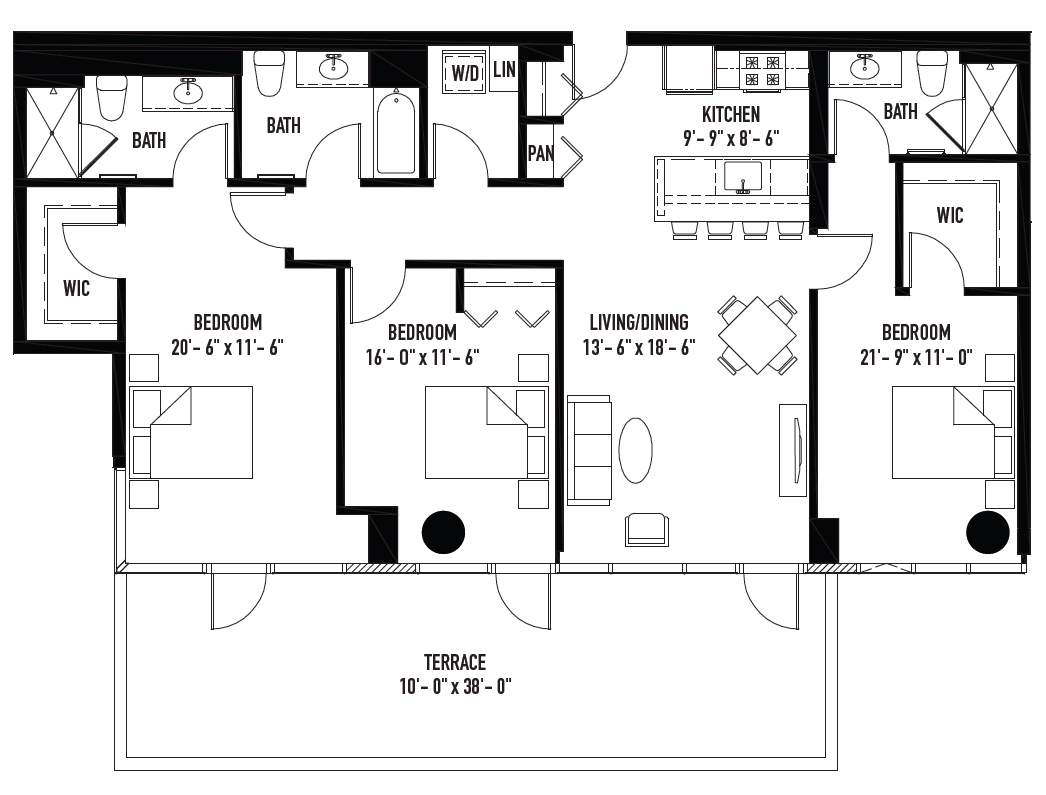 new lakeview three bedroom has two master suites three full baths for starters