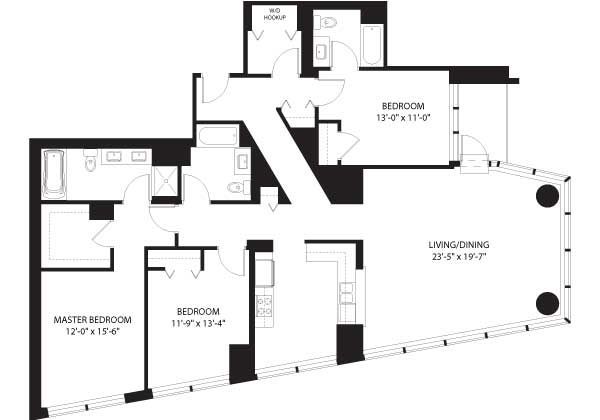 Floor plan faceoff: three-bedrooms at Legacy at Millennium Park and One Museum Park