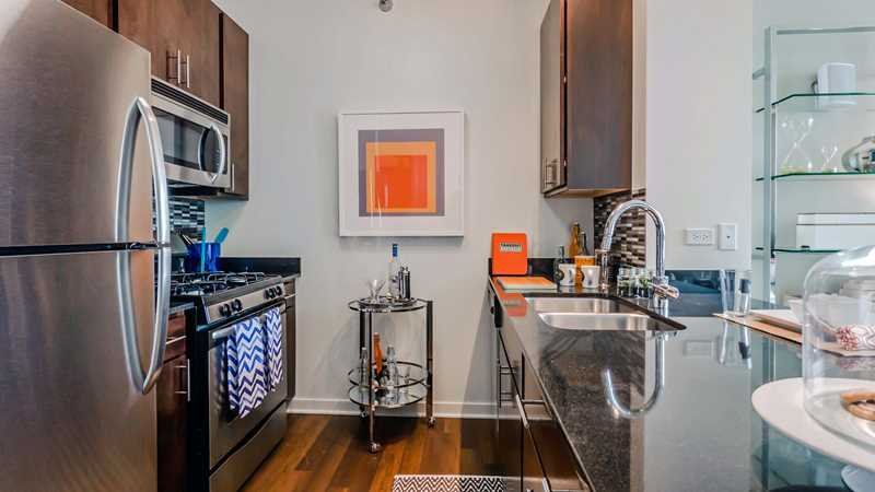 Studios in a Fulton River District high-rise from $1,543 a month