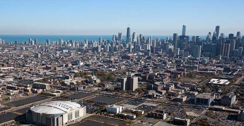 Aerial view of West Loop, Chicago