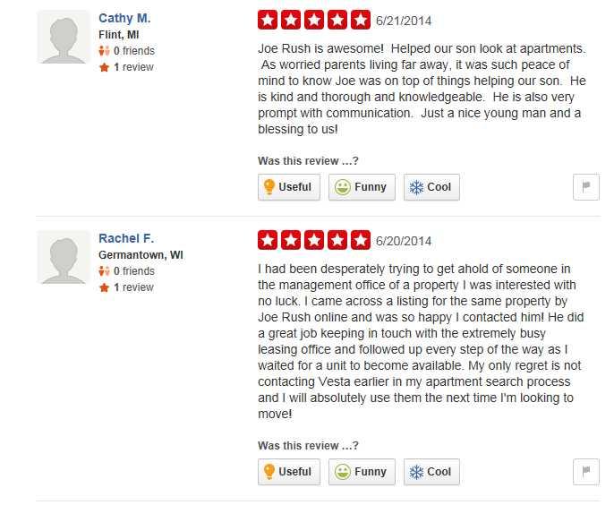 Some amusing Yelp reviews for Vesta Preferred's Joe Rush
