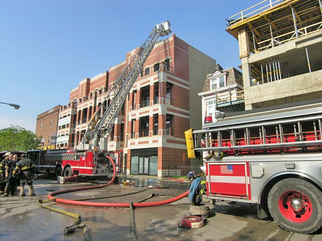 Two-alarm construction fire at new Lake View Condos