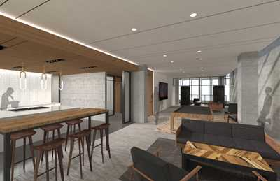 Lounge rendering, 165 North Desplaines, Chicago
