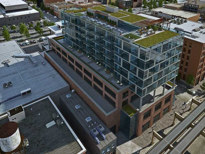 Aerial view of 171 N Aberdeen roof deck, rendering