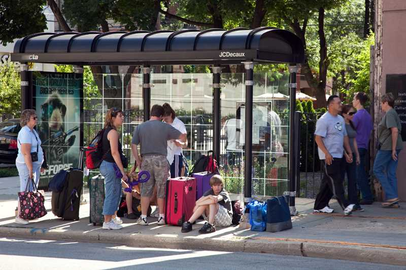 Bus stop scene, River North, Chicago, Kardas Photography