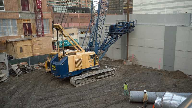 Drilling the caissons at Optima Center in Streeterville