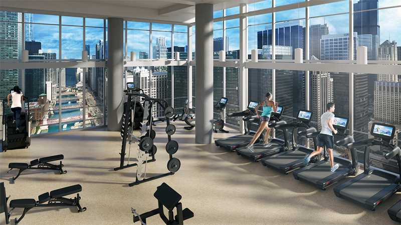 A new River North apartment fitness center with fabulous views