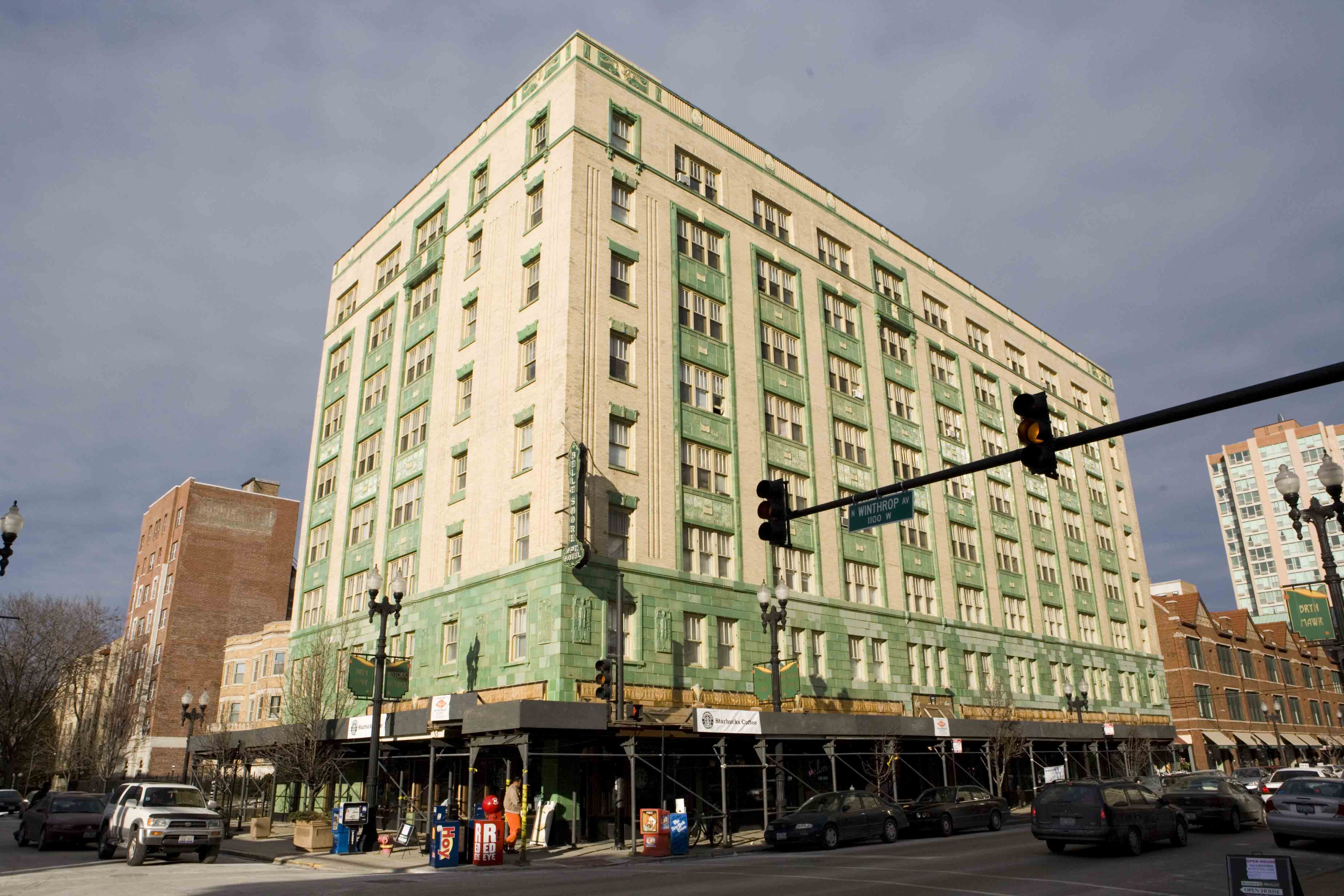 A Starbucks is located on the ground floor of the Belle Shore Apartments, which has a distinct green art deco facade and has been thoroughly renovated.