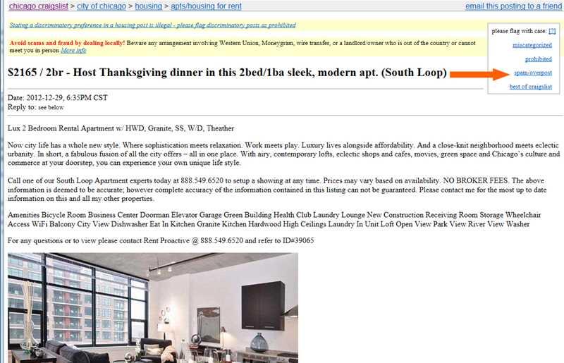 Killing Rent Proactive spam ads on Craigslist