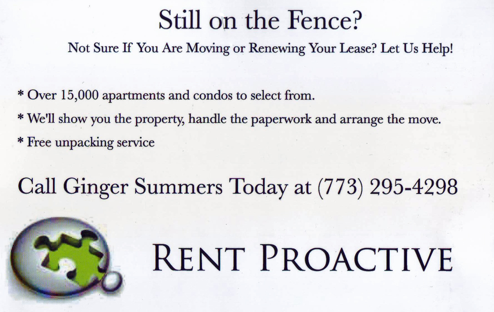 Rent Proactive postcard Chicago IL