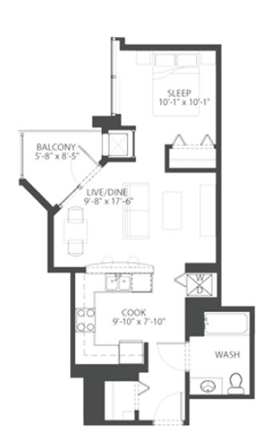 The South Loop\'s best apartments – studio / convertible floor plan ...
