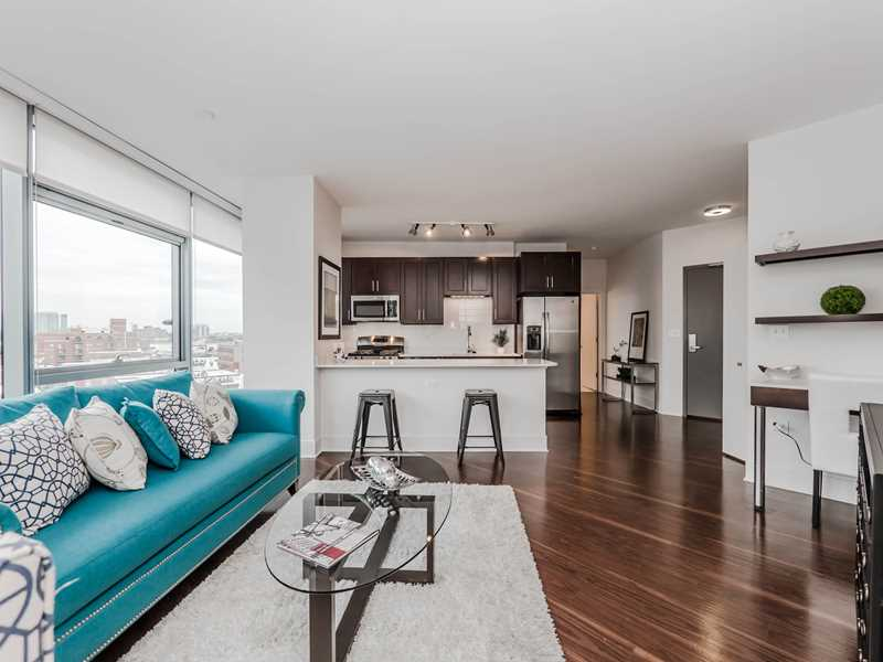 the apartments have wood plank floors 9 10 foot ceilings floor to