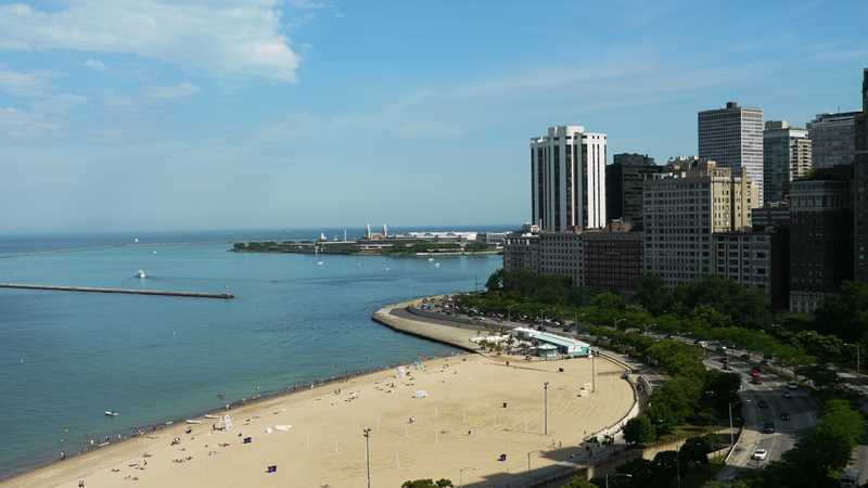 Views of the beaches at Oak Street and North Avenue