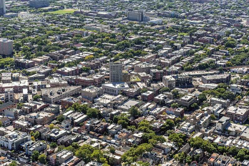 Aerial view of Bucktown and Wicker Park, Chicago