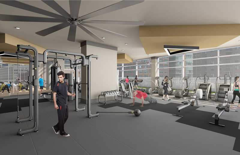 Fitness room rendering, Alta Roosevelt, Chicago