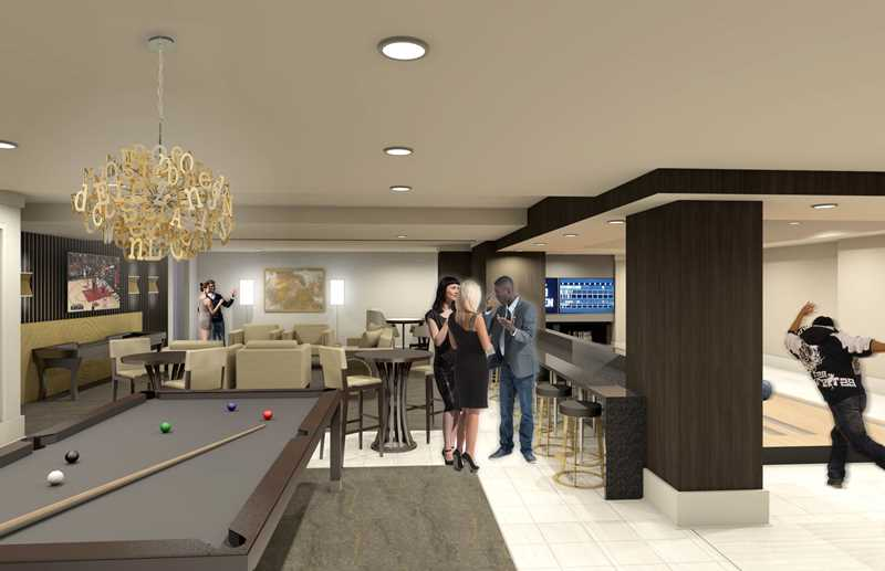 Gaming area rendering, Alta Roosevelt, Chicago
