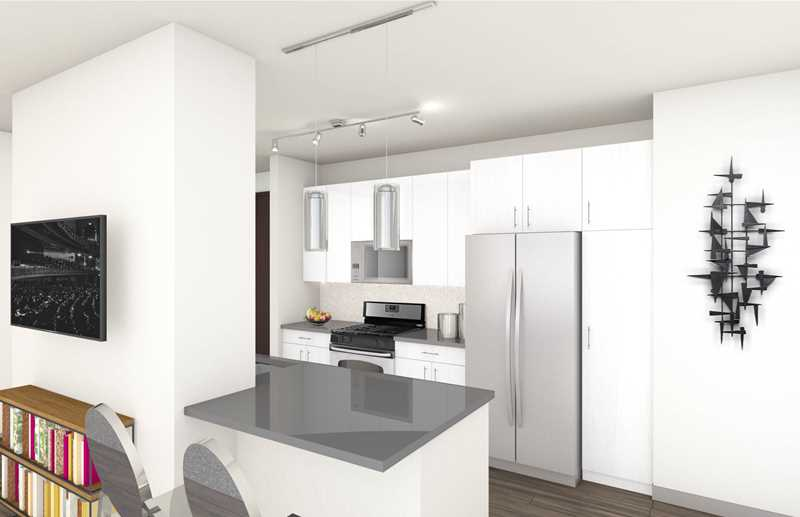 Model kitchen rendering, Alta Roosevelt, Chicago