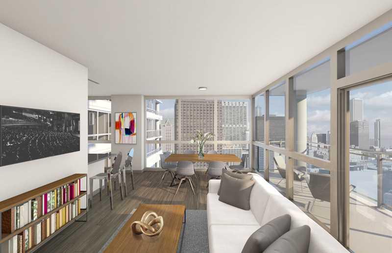 Model living area rendering, Alta Roosevelt, Chicago