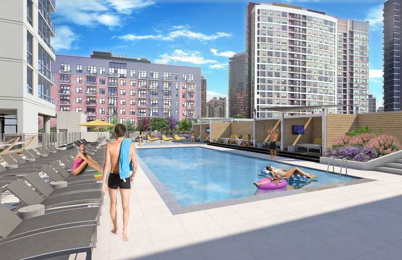 Pool deck rendering, Alta Roosevelt, Chicago