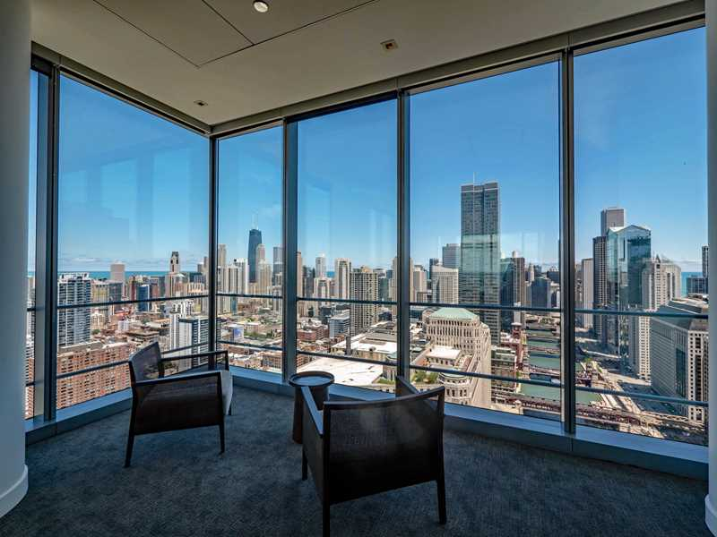 Dramatic views from Wolf Point West apartments in River North