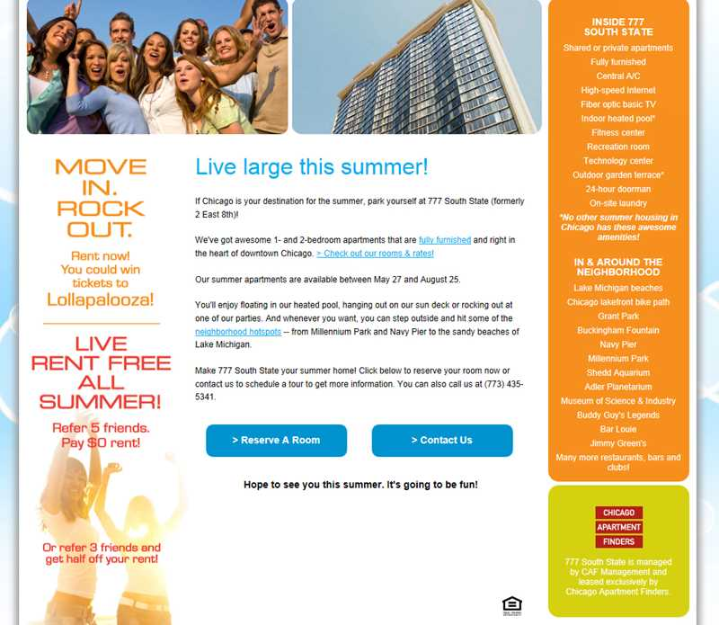 Is Chicago Apartment Finders soliciting students to commit a crime?
