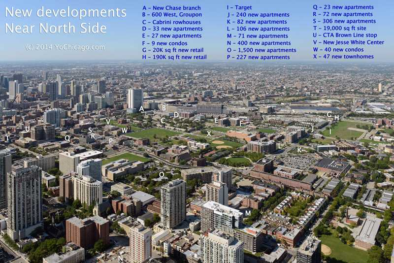 An aerial view of new Near North Side developments