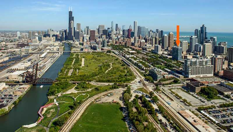 A South Loop rental tower adds a sold sign
