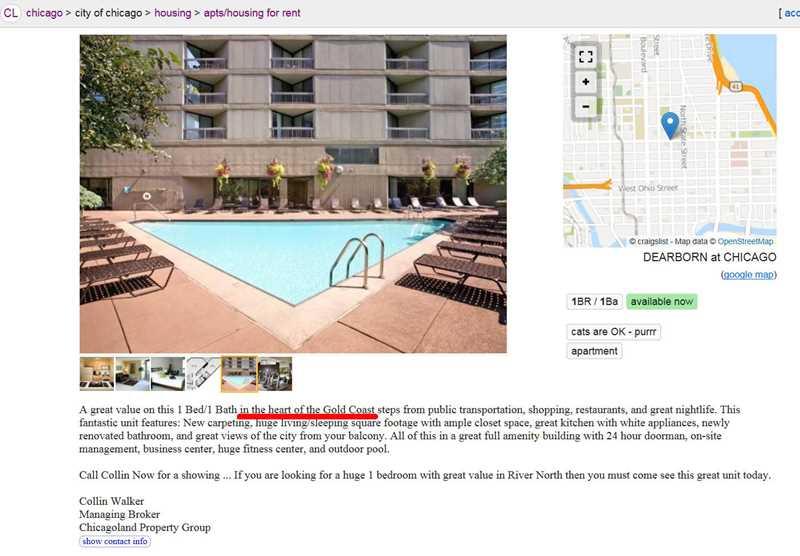 Chicago rental service location lies, Collin Walker edition