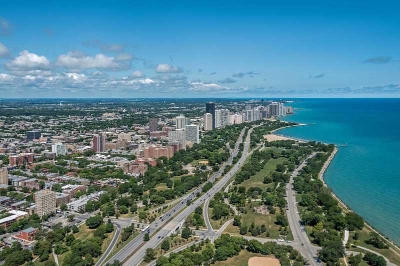 Aerial view of Uptown, Edgewater, Chicago