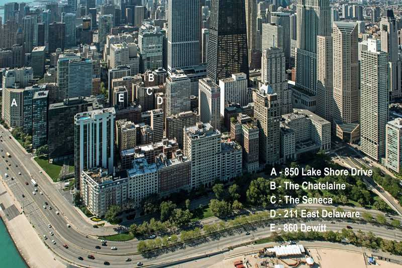 An aerial view of North Streeterville apartment towers