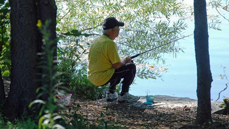 Fishing at North Pond