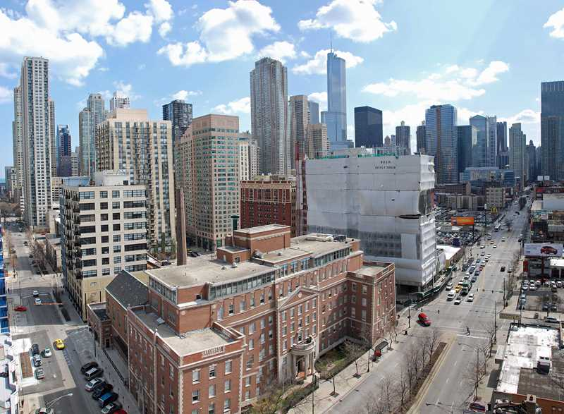 Southeast view from Superior at LaSalle, Chicago IL