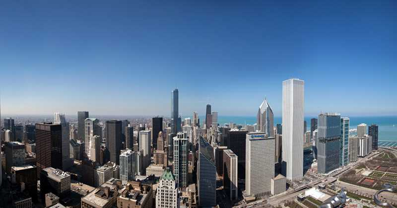 Chicago, Legacy at Millennium Park, north view. Kardas Photography