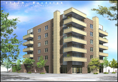 rendering of 20-unit rental apartment building at 1342 W Randolph St in the West Loop, Chicago