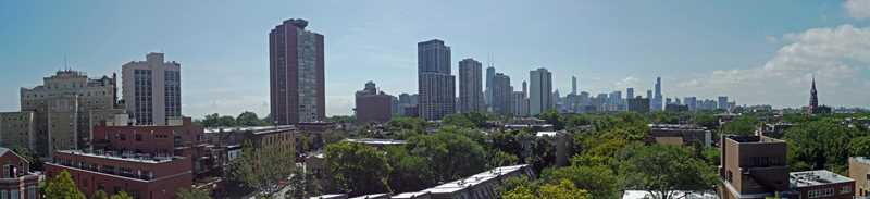 The panoramic views from a Lincoln Park mid-rise