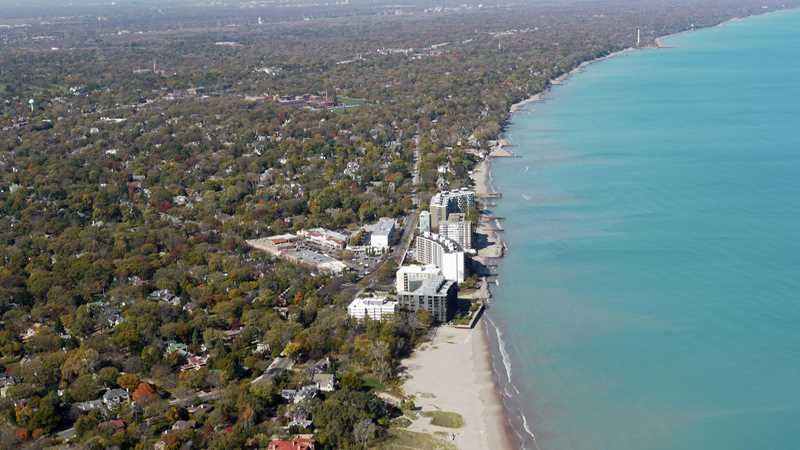No man's land, Wilmette, from the air