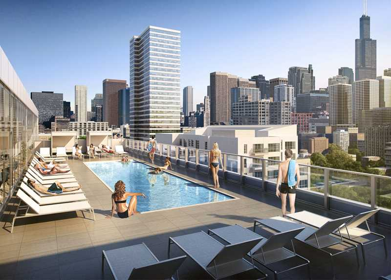 Rendering of The Van Buren roof deck, Chicago