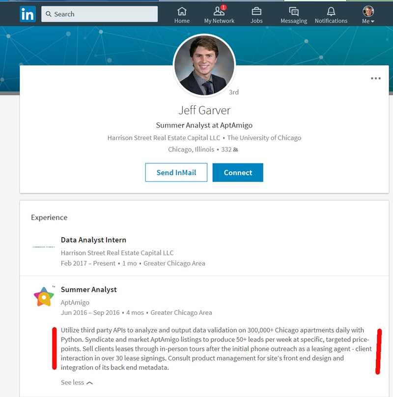 Jeff Garver, AptAmigo, LinkedIn screen cap