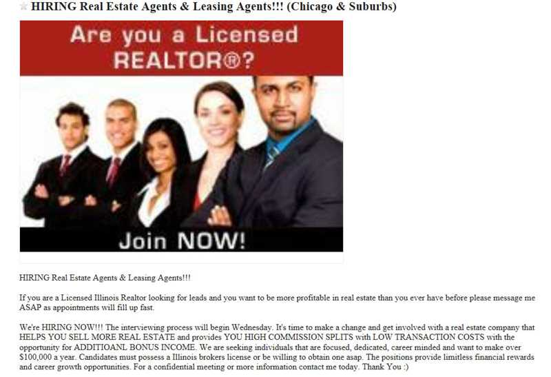 Don't respond to blind real estate help wanted ads