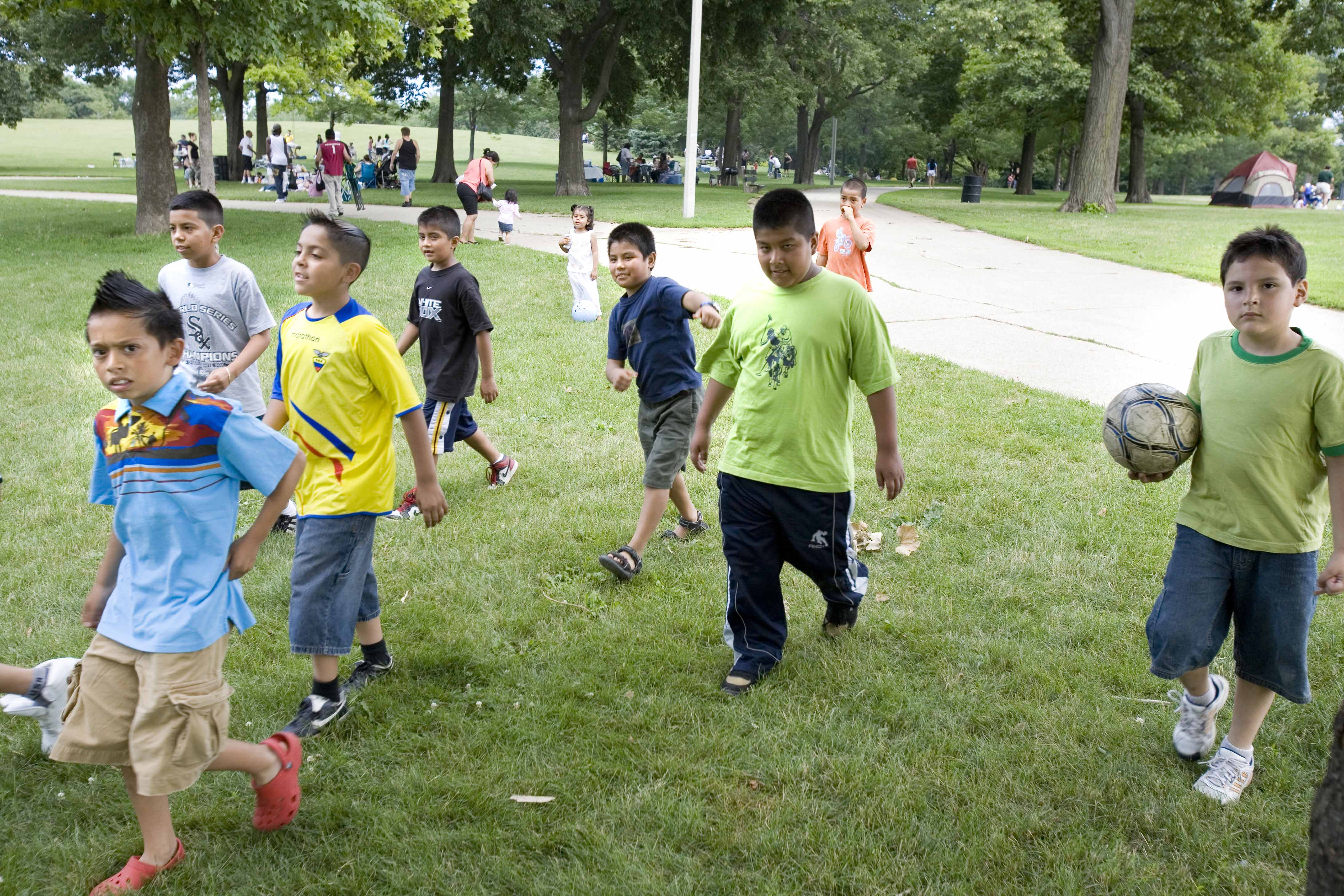 Soccer players get ready to kick it in Horner Park, a long riverfront park that stretches from Irving Park Road to Montrose Avenue, in the Irving Park neighborhood.