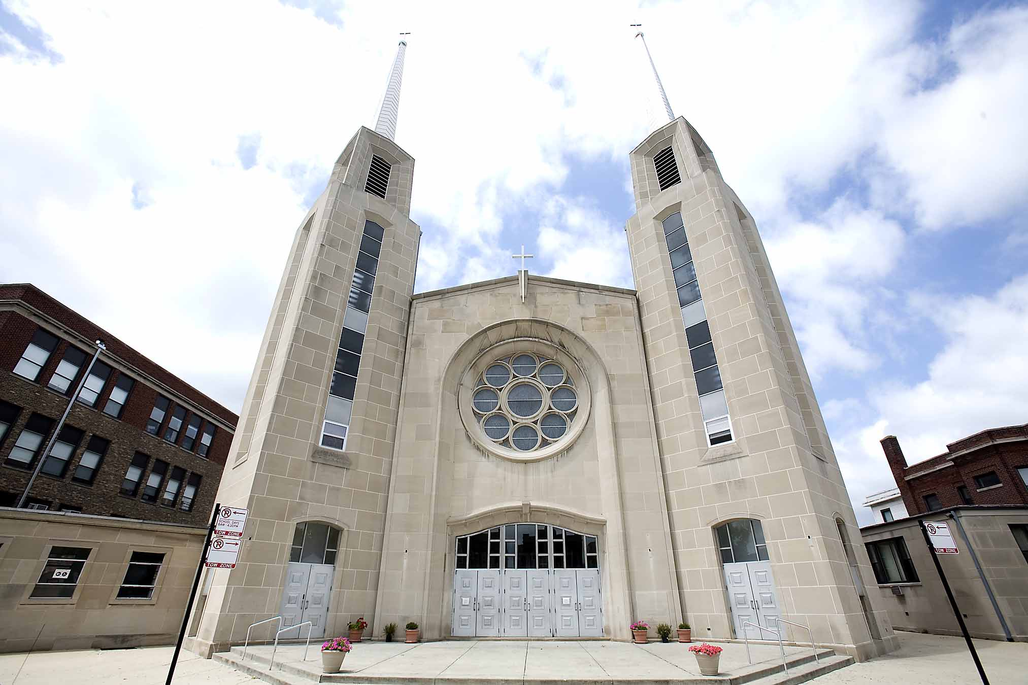 Our Lady of Mercy Catholic church, 4432 N. Troy St., in Albany Park, has soaring twin spires and a stunning gold dome.