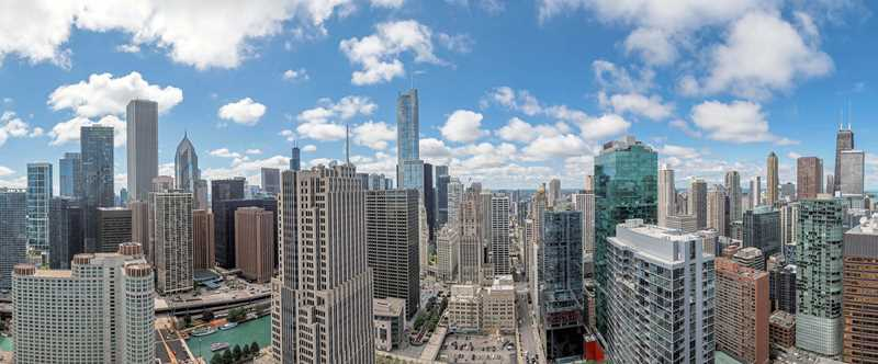 View west from 47, 465 North Park, Chicago