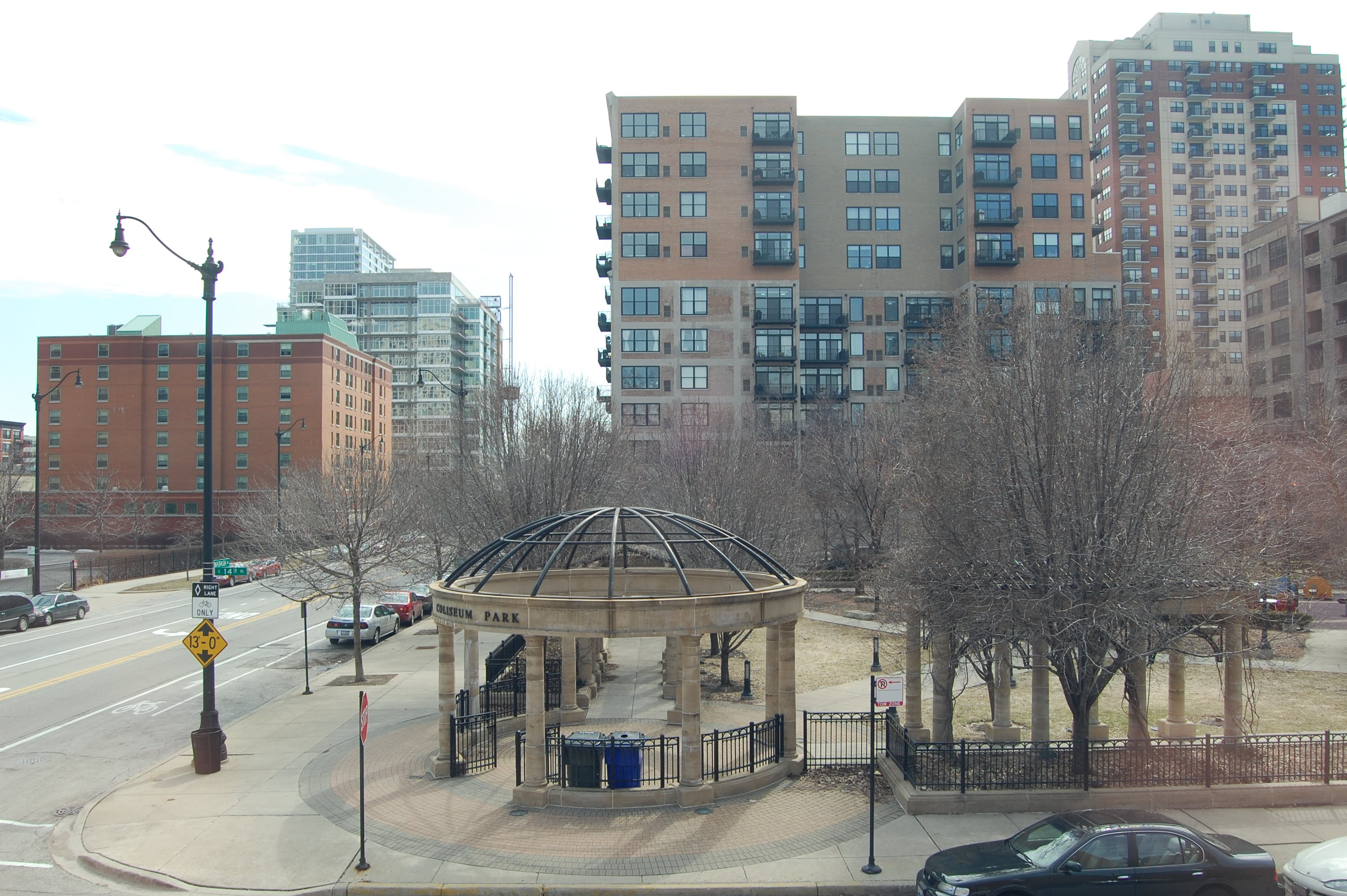 view from Coliseum Park, 1440 S Wabash Ave in South Loop, Chicago