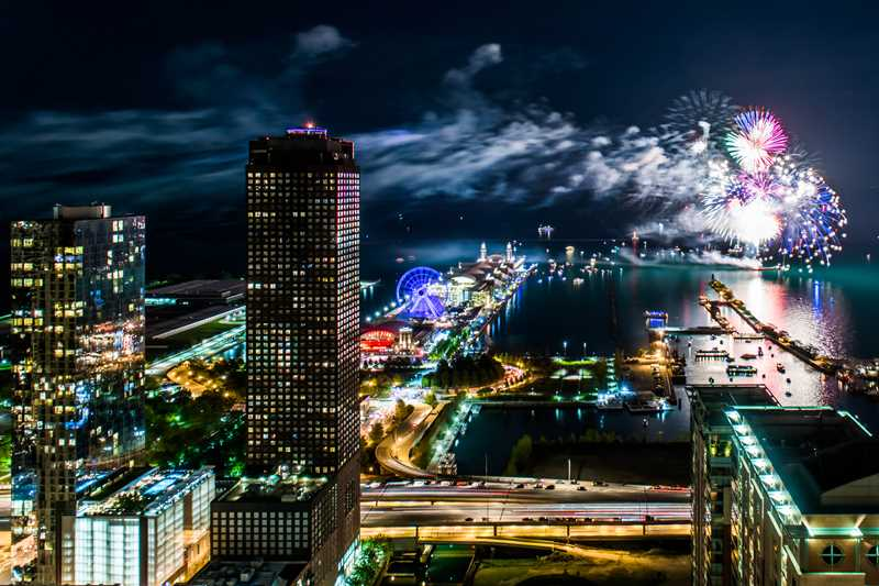 North Water apartments, Navy Pier fireworks, Chicago