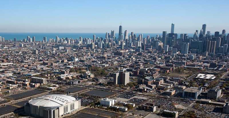 Aerial view of West Loop, Chicago