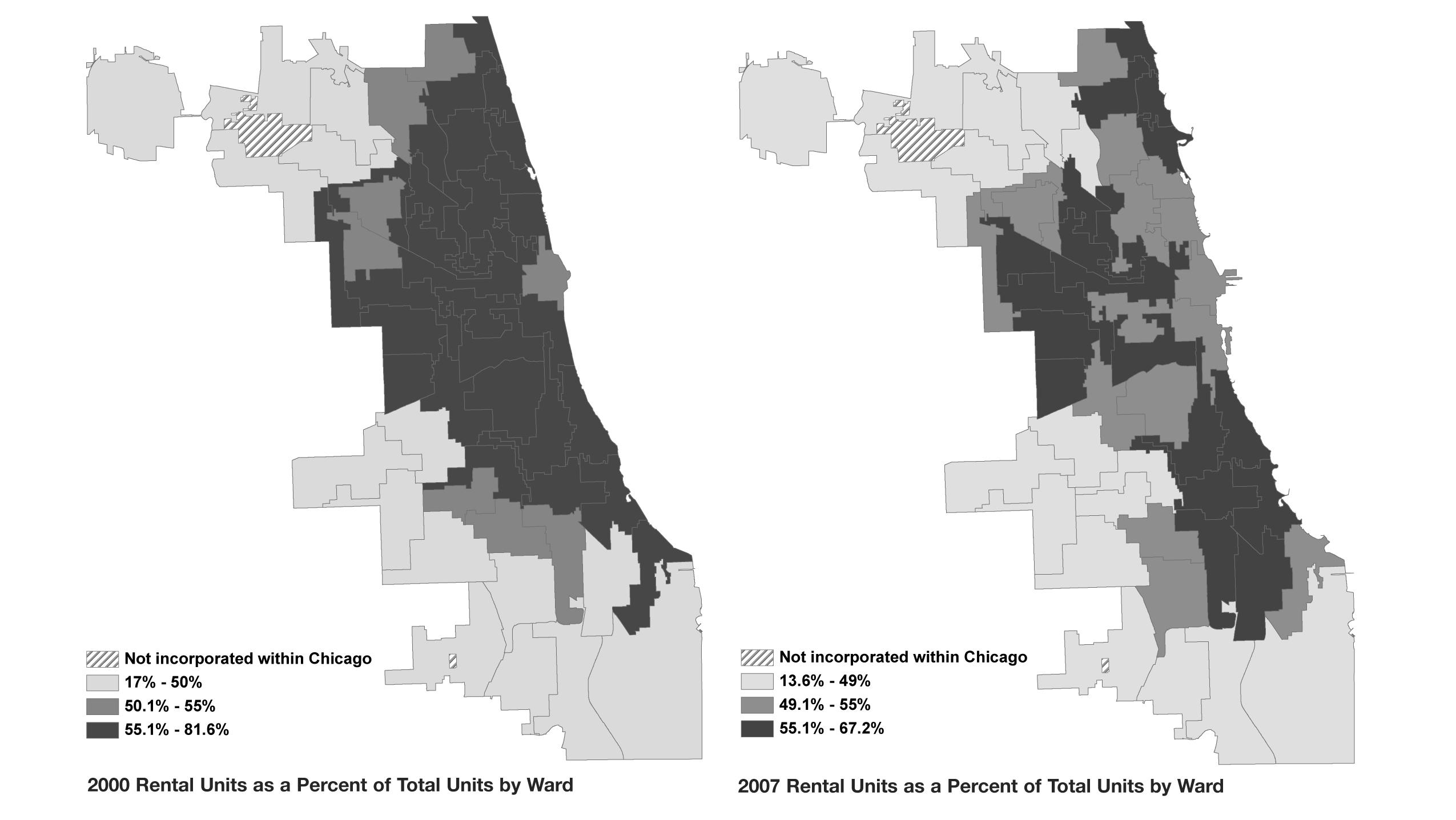Rent or buy: Rental density by ward